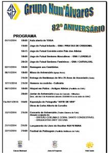 Programa oficial do 82º Aniversário